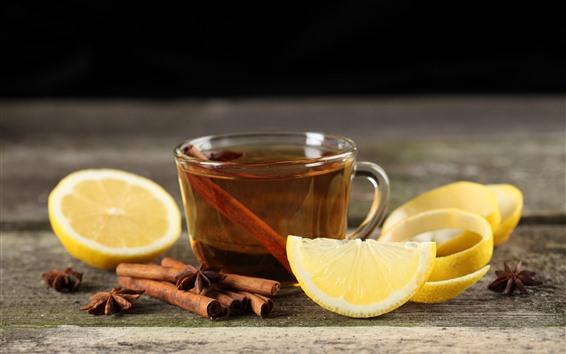 Обои Лимон, чай, корица, напитки