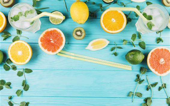 Wallpaper Lemonade, orange, kiwi, mint, wood board