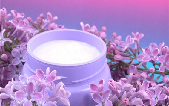 Papéis de Parede Flores do Lilac, leite
