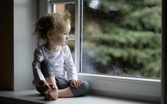 Wallpaper Little girl sit at windowsill, rain