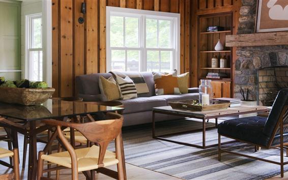 Fondos de pantalla Sala de estar, sofá, ventana, mesa, chimenea.
