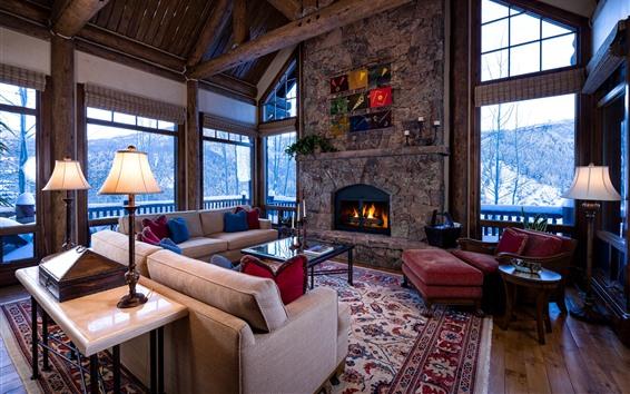 Обои Гостиная, окна, диван, камин, светильники