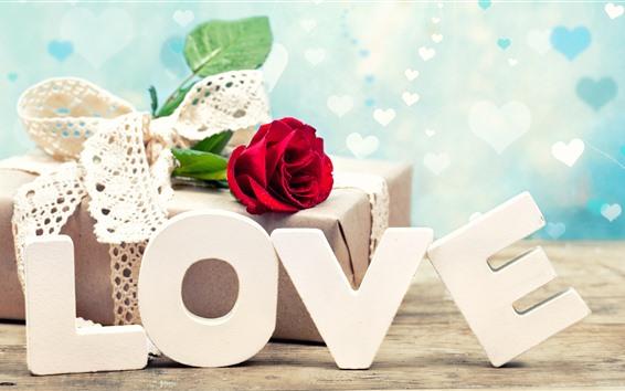 Fond d'écran Amour, rose rouge, cadeau, romantique