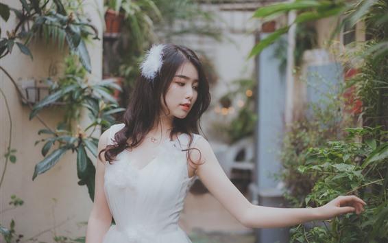 Wallpaper Lovely Asian girl, white skirt, hazy