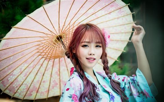 Wallpaper Lovely Japanese girl, braids, kimono, umbrella