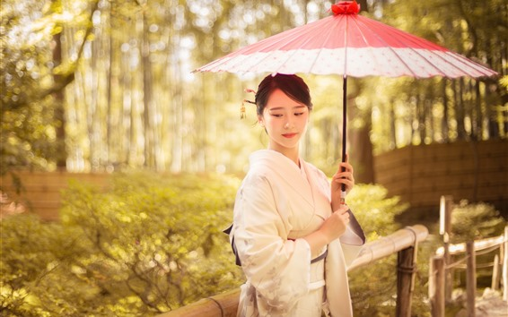 Wallpaper Lovely Japanese girl, kimono, umbrella, trees, autumn