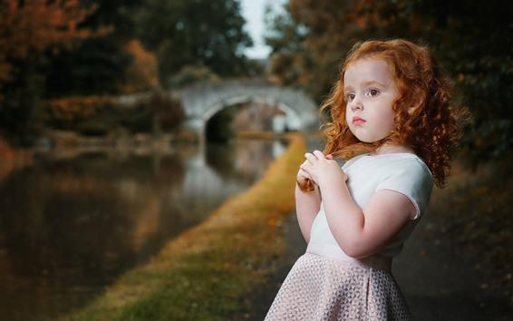 Wallpaper Lovely little girl, curls, riverside