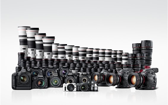 Wallpaper Many Canon digital cameras and lens 7680x4320 UHD