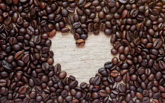 Fondos de pantalla Muchos granos de café, corazón de amor
