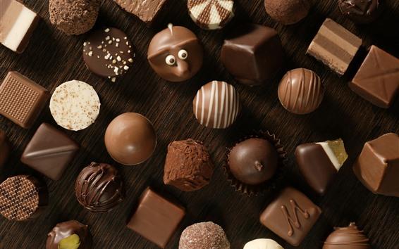 Papéis de Parede Muitos tipos de doces de chocolate, alimentos doces