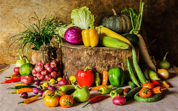 Wallpaper Many kinds vegetables, pepper, tomato, cucumber, pumpkin, onion, cabbage
