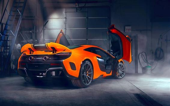 Wallpaper McLaren orange supercar rear view, doors opened