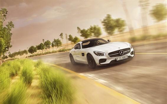 Wallpaper Mercedes-Benz AMG GT white sports car speed
