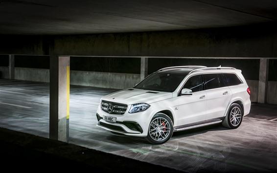 Обои Mercedes-Benz AMG X166 белый внедорожник