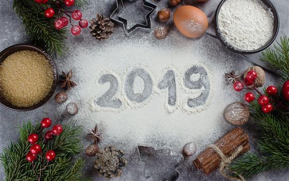 Fondos de pantalla Feliz Navidad y Feliz Año Nuevo 2019, decoraciones, polvo blanco.