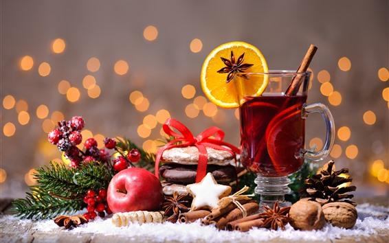 Wallpaper Merry Christmas, tea, cinnamon, orange slice, red apple, nuts, berries