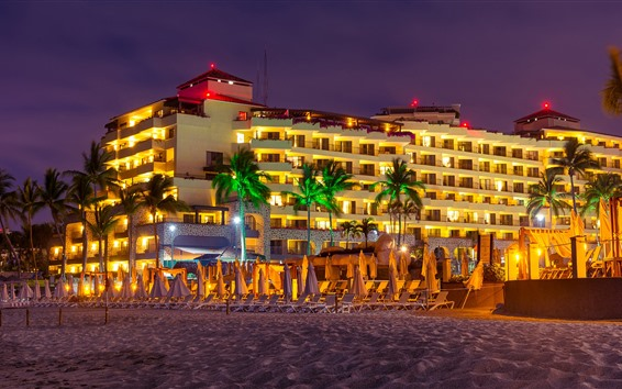 Wallpaper Mexico, sun loungers, resort, night, palm trees, lights