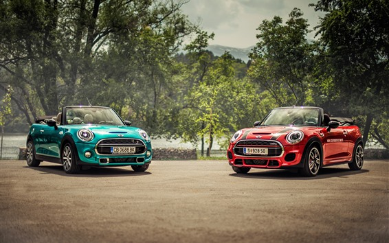 Wallpaper Mini Cooper blue and red cars