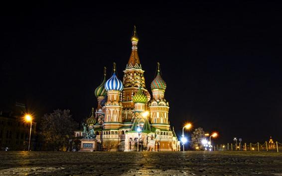 Wallpaper Moscow, Kremlin, Red Square, night, lights