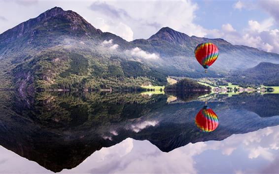 Wallpaper Mountain, lake, hot air balloon, water reflection