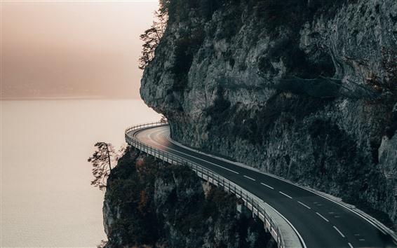 Fondos de pantalla Montaña, camino, acantilado, río