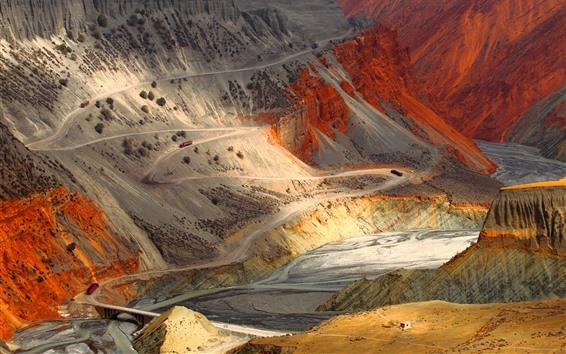 Wallpaper Mountains, rocks, bend road, steep slope, river, canyon