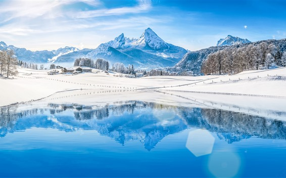 Wallpaper Mountains, trees, snow, lake, water reflection, winter