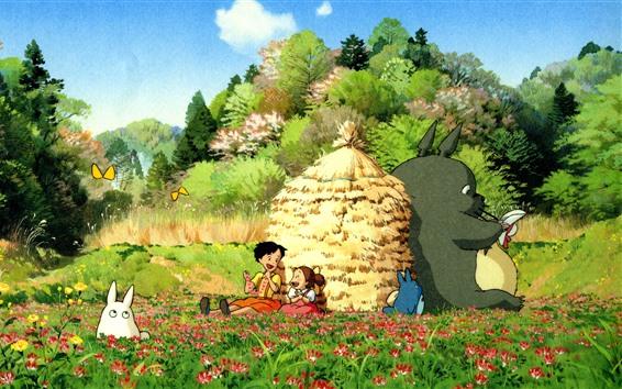 Wallpaper My Neighbor Totoro, beautiful countryside, Japanese anime