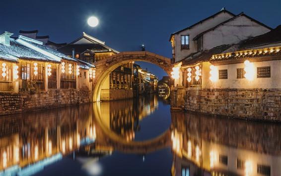 Fondos de pantalla Nanxun Ancient Town, noche, luces, río, China