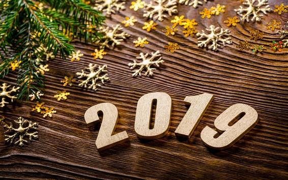 Fondos de pantalla Año nuevo 2019, navidad, copos de nieve.