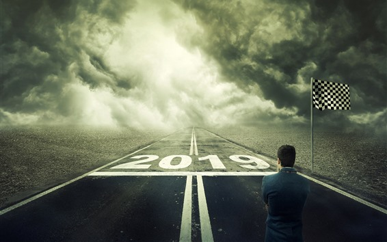 Fondos de pantalla Año nuevo 2019, carretera, mar, bandera, imagen creativa