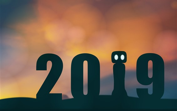 Fondos de pantalla Año nuevo 2019, silueta