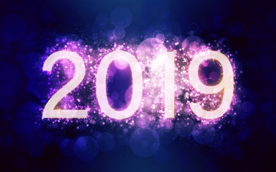 Wallpaper New Year 2019, sparks, purple background