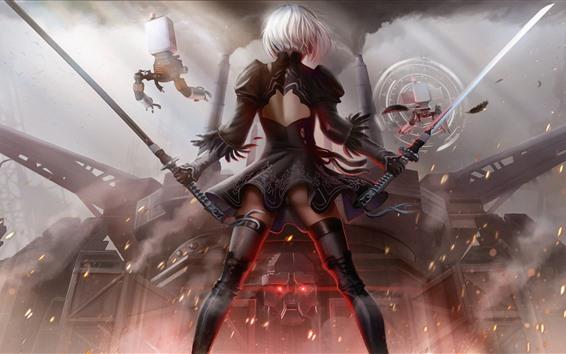 Wallpaper NieR: Automata, YoRHa No.2 Type B, girl back view, sword
