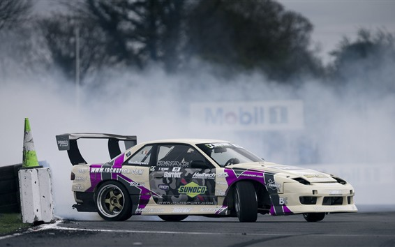 Wallpaper Nissan Silvia S13 race car side view