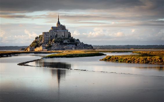 Wallpaper Normandy, France, Mont Saint Michel, river, clouds