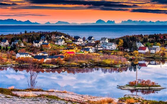 Wallpaper Norway, Lofoten Islands, beautiful village, sea, sunset
