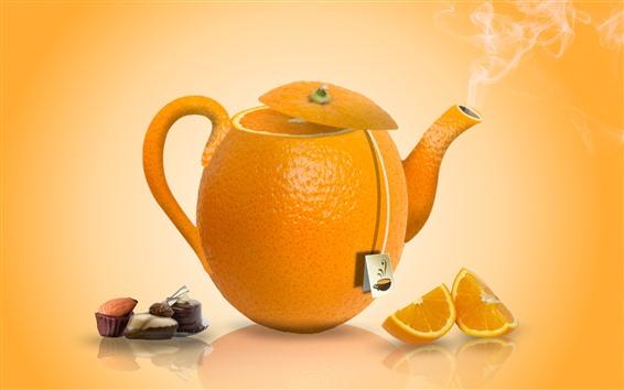 Wallpaper Orange teapot, oranges, creative picture
