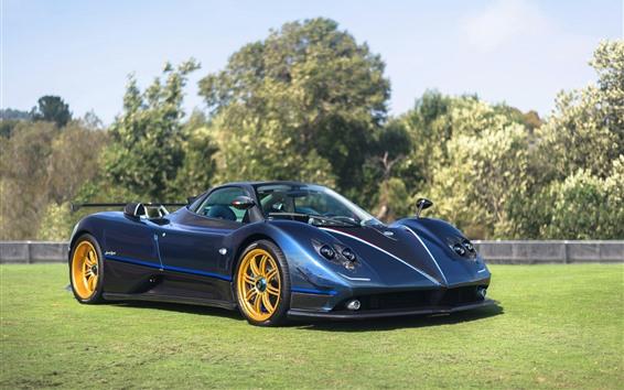 Wallpaper Pagani Zonda blue supercar