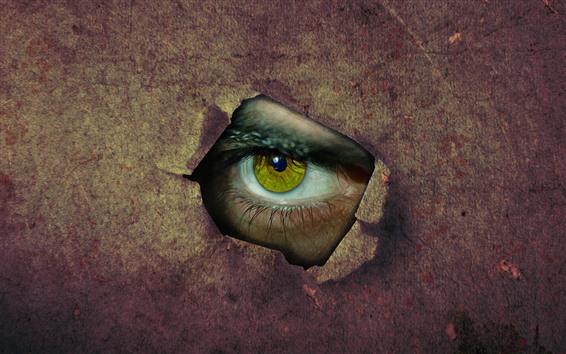 Fondos de pantalla Papel, agujero, ojo verde, imagen creativa