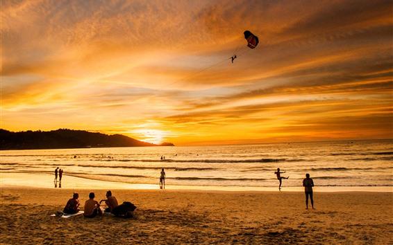 Fondos de pantalla Patong Beach, Beautiful Sunset, sea, Phuket, Tailandia