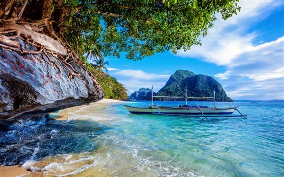 Обои Филиппины, пляж, море, лодка, деревья