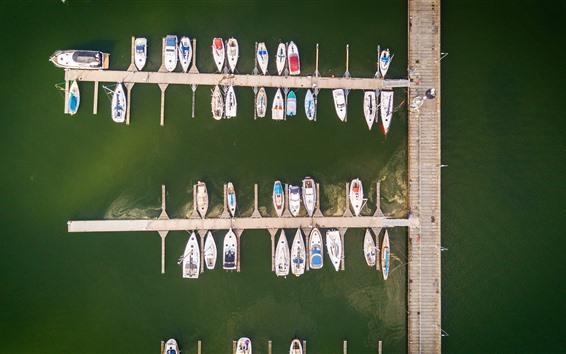 Wallpaper Pier, boats, yachts, sea, top view