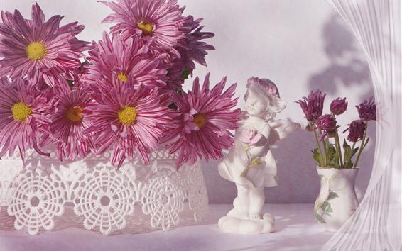 Fond d'écran Chrysanthème rose, figurine blanche