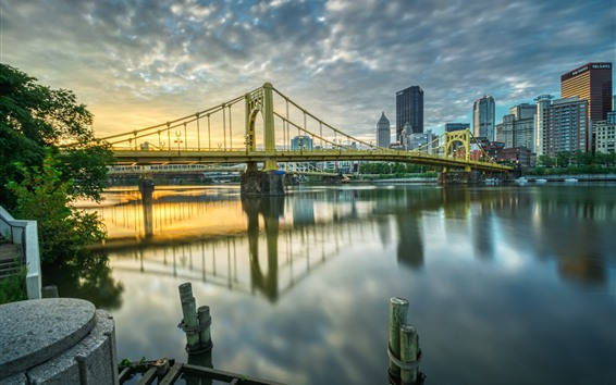 Fondos de pantalla Pittsburgh, Estados Unidos, ciudad, puente, río, edificios