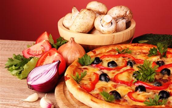 Fondos de pantalla Pizza, pastel, champiñones, tomate, cebolla