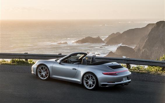 Обои Порш 911 Carrera 4S серебристый суперкар вид сбоку