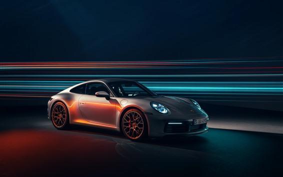 Wallpaper Porsche 911 Carrera 4S silver supercar speed