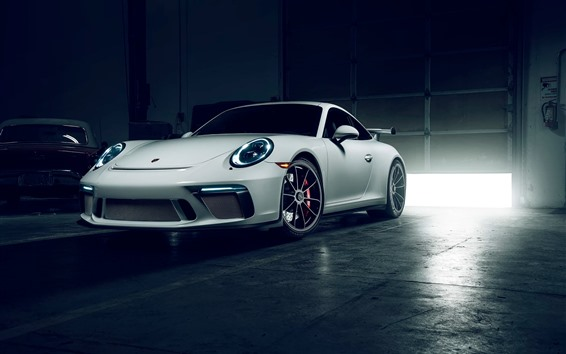 Wallpaper Porsche 911 GT3 white supercar front view