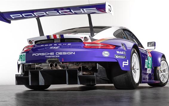 Fondos de pantalla Vista trasera del coche de carreras azul Porsche 911 RSR